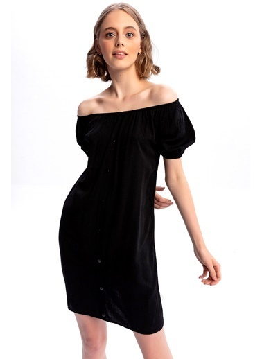 Emjey Süspatlı Kol Yaka Lastikli Elbise Siyah